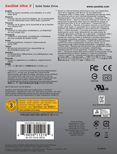 SanDisk Ultra II 480GB SATA III 2.5-Inch 7mm Height Solid State Drive (SSD) with Read Up To 550MB/s- SDSSDHII-480G-G25 by SanDisk (Image #2)