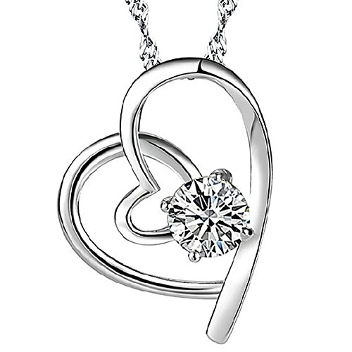 Pendant Necklace_ 925 Sterling Silver Cubic Zirconia Pendant_ Necklace heart necklace ladies_ Crystal pendant necklace