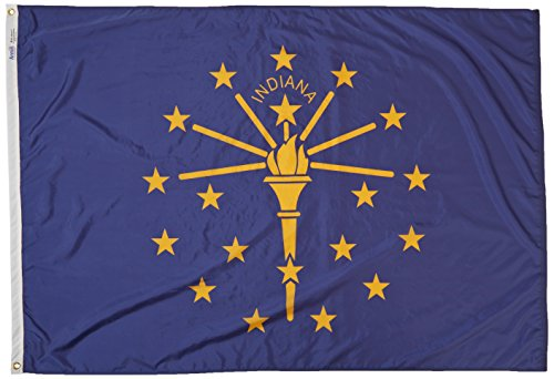 Annin Flagmakers Model 141670 Indiana State Flag 4x6 ft. Nylon SolarGuard Nyl-Glo 100% Made in USA to Official State Design Specifications.