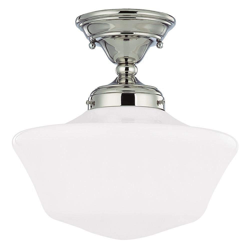 12-Inch Schoolhouse Semi-Flushmount Ceiling Light in Polished Nickel