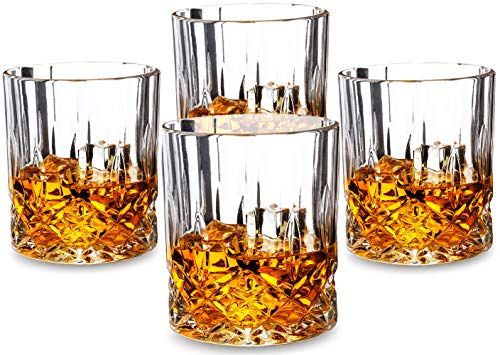 KANARS Noblesse Whiskey Glasses set of 4. Premium Lead Free Crystal Old Fashioned Tumbler for Bourbon Tasting or Scotch Drinking. Dishwasher Safe ()