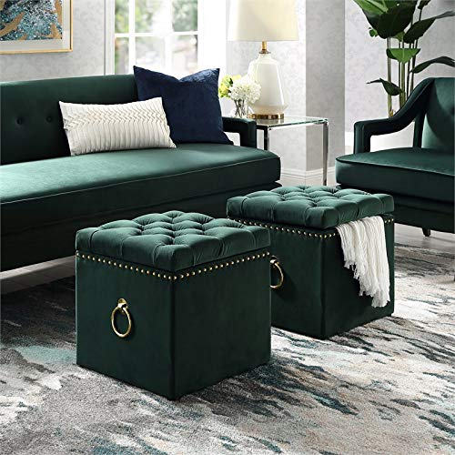 Posh Living Hunter Green Velvet Storage Ottoman - Markella - Gold Nailhead