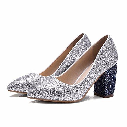 DIMAOL Chaussures Femmes de Paillettes Scintillantes PU Printemps Automne Comfort Heels Talon pour Les Or Argent,Argent,US6/EU36/UK4/CN36