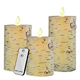Docheer Flameless Candles LED Flickering Candles Birch Bark Set of 4'' 5'' 6'' Battery Operated Candles Real Wax Pillar with Remote Timer LED Tea Light for Seasonal & Festival Celebration