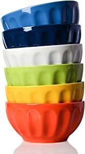 Sweejar Ceramic Fluted Bowl Set, 26 oz for Cereal, Salad, Pasta, Soup, Dishwasher Microwave Safe - set of 6