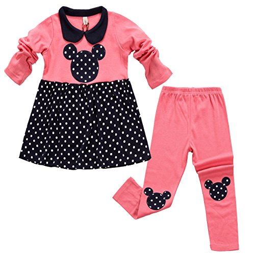 [Aikobaby Baby Girl Cute Polka Dot 2pcs Children Clothes Suit Tunic Top and Pants Set (3T, Pink)] (Minnie Mouse Outfit For Babies)
