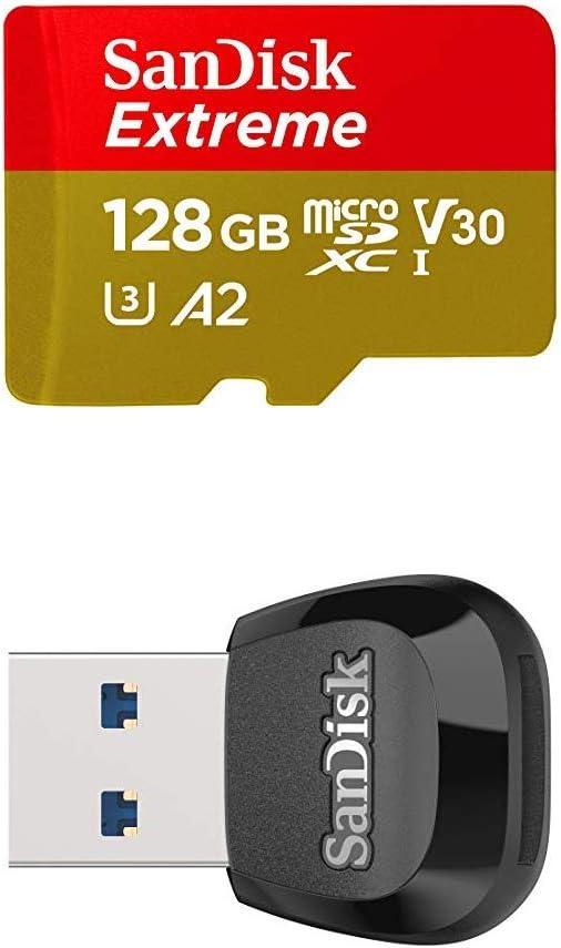SanDisk Extreme - Tarjeta de memoria microSDXC de 128GB con adaptador SD, A2, hasta 160MB/s, Class 10, U3 y V30 + MobileMate Lector de tarjetas MicroSD, USB 3.0