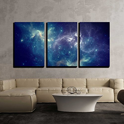 wall26 - 3 Piece Canvas Wall Art - Colorful Space Nebula - Modern Home Decor Stretched and Framed Ready to Hang - 16
