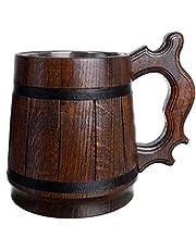 Handgemaakte Bierpul Eikenhout Roestvrijstalen Beker Natuurlijk Milieuvriendelijk Houten Bierpul 0,6L 20oz Klassiek Bruin (Retro 20 oz / 0,6l)