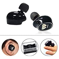 Wosports True Wireless Earbuds Bluetooth Stereo Headphones Sweatproof In-Ear Headset Completely Cordless Twin Sweatproof Sport Earphones with Mic and Charging Case (Black)
