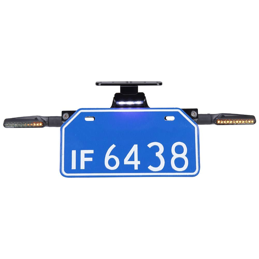4 x LED Motorrad 12V Blinker CNC Universal Motorrad Kennzeichenhalter Halterung mit Kennzeichenbeleuchtung Kompatibal mit MT 07 09 S1000RR R1200GS