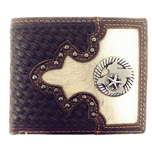 Western Genuine Woven Leather Cowhide Mens Bifold Short Wallet in Multi Emblem (State ()