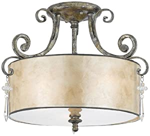 Quoizel KD1716MM Kendra 12-1/2-Inch Large Semi Flush Mount with Oyster Mica Shade, Mottled Silver Quoizel B001Q1HMZS