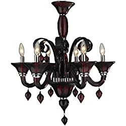 "Worldwide Lighting Murano Collection 6 Light Blown Glass in Cranberry Red Finish Venetian Style Chandelier 23"" D x 27"" H Medium"