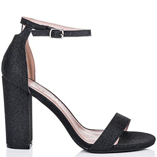 Open Sandals Women's Glitter SPYLOVEBUY Block SASS Heel Black Peep Toe Pumps Shoes 0xTZEZnqw