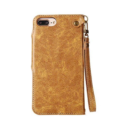 SRY-Mobile Phone Cases & Covers Caja protectora magnética superior de la cartera del tirón del cierre magnético de la PU con el acollador para el iPhone 6 más / iPhone 6S más ( Color : Light Green ) Khaki