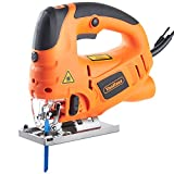 VonHaus Jigsaw Saw Tool 800W with Laser Guide Pendulum | Variable Speeds, Splinter Guard, Dust Extraction Port & 3 Blades | Strong Cast Aluminium Base
