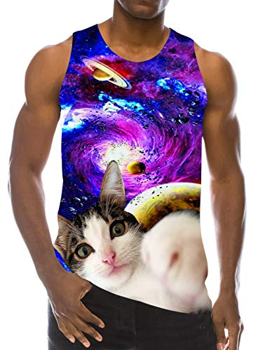 - RAISEVERN Men's Tank Tops Workout Sleeveless Tee Cool Galaxy Boxing Cat Printed Fitness Vest Athletic Training Undershirts