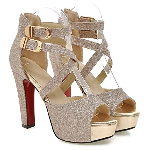 Gold Women Heel High Fashion TAOFFEN Sandals Party x6qwzPUp