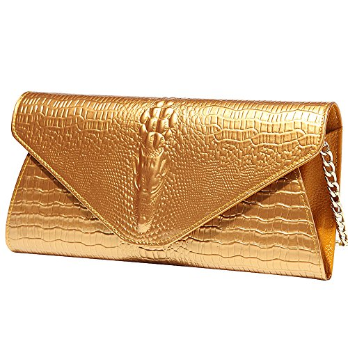 Crocodile Leather Women Evening Envelope With Metal Chain SC52801 Clutch Bag Jamron Genuine Prom Ladies Gold Upscale Baguette Gold Wedding Shoulder Party Ed4qqS