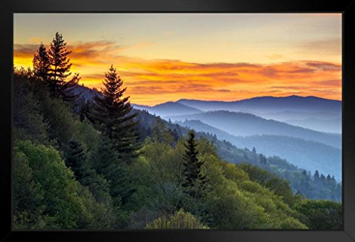 Great Smoky Mountains National Park Sunrise Photo Art Print Framed Poster 20×14 inch