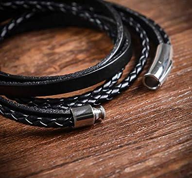 Cala Vide Avec Fermeture /à clip /… Bracelet wrap en Cuir Femme Noir Bracelet Homme Galeara Ava