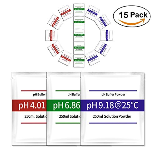 15-pack pH Meter Buffer Solution Powder, Easy and Accurate, Make pH Calibration Solution 4.01, 6.86, and 9.18 Calibration Packets