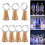 URUNIQ Wine Bottle Lights with Cork, Solar Powered LED Cork Shape Silver Copper Wire Colorful Fairy Mini String Lights for DIY, Party, Decor, Christmas, Halloween, Wedding, 7 Pack (Multicolor)