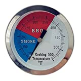 "DozyAnt 3 3/20"" Larger Face 550F BBQ Barbecue Charcoal Grill Pit Wood Smoker Temp Gauge Grill Thermometer 3"" Stem SS RWB"