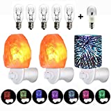 2 Pack Natural Pink Himalayan Crystal Salt Lamp Mini Night Light Lights and 1 3D Star Glass Color Change Night Light Wall Light 3 Pack Set,UL Approved with 5 Incandescent and 1 Color Change LED Bulb