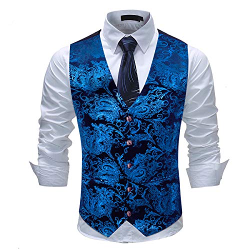 Cloudstyle Mens Single Breasted Vest Dress Vest Slim Fit Paisley Printed Prom Formal Suit Vest Waistcoat