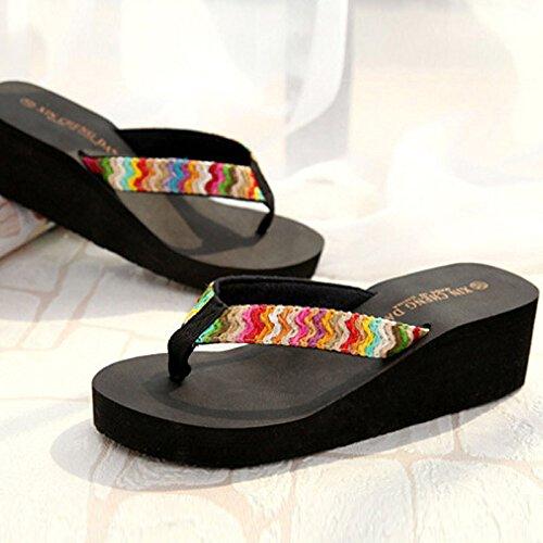 ℱLOVESOℱ Floral Ribbon Satin High Heel Beach Sandals Wedge Platform Thongs Slippers Flip Flops Summer Black by ℱLOVESOℱ (Image #1)