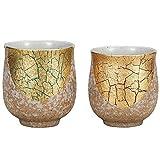 Pair Tea Cups Gold Leaf Kutani Yaki Yunomi