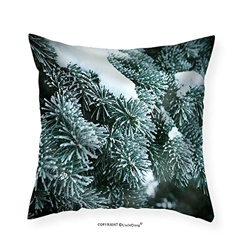 VROSELV Custom Cotton Linen Pillowcase Winter Frost on Spruce Christmas Tree Close-Up .Shallow Depth-Of-Field - Fabric Home Decor (Spruce Square Clock)