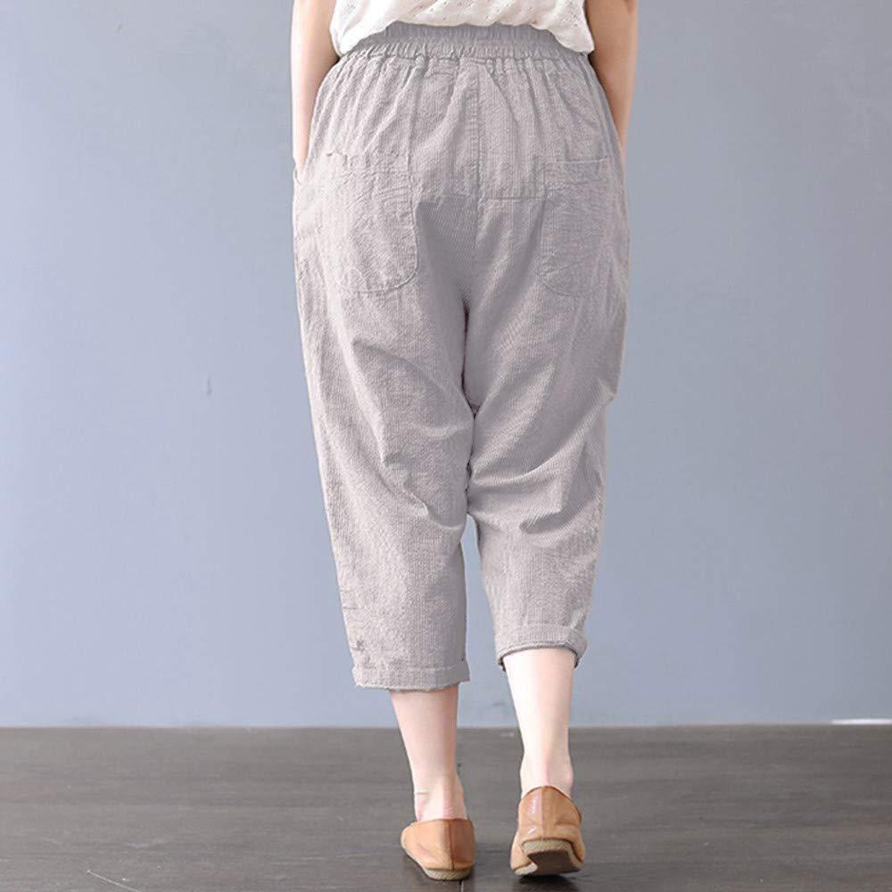 Bovake Femme Longue Shorts Casual Couleur Unie Ethnique Oversize en Vrac Sept Points Grande Taille Pantalon