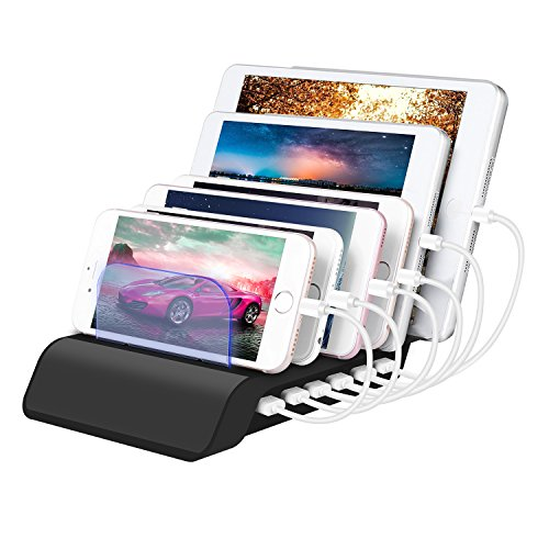 Zglon 6-Port USB Charging Station|Smart Cell Phone USB Hub Charger Dock Station Organizer Quick Charge Multiple Devices Desktop Charging Station for Smartphones, Tablets & Other Gadgets