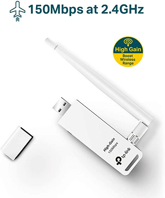 TP-Link Adaptador wifi USB inalámbrico Compatible con Raspberry Pi, N 150Mbps, Antena externa 4 dBi, Botón WPS, Windows, Mac OS X 10.6-10.11, Linux ...
