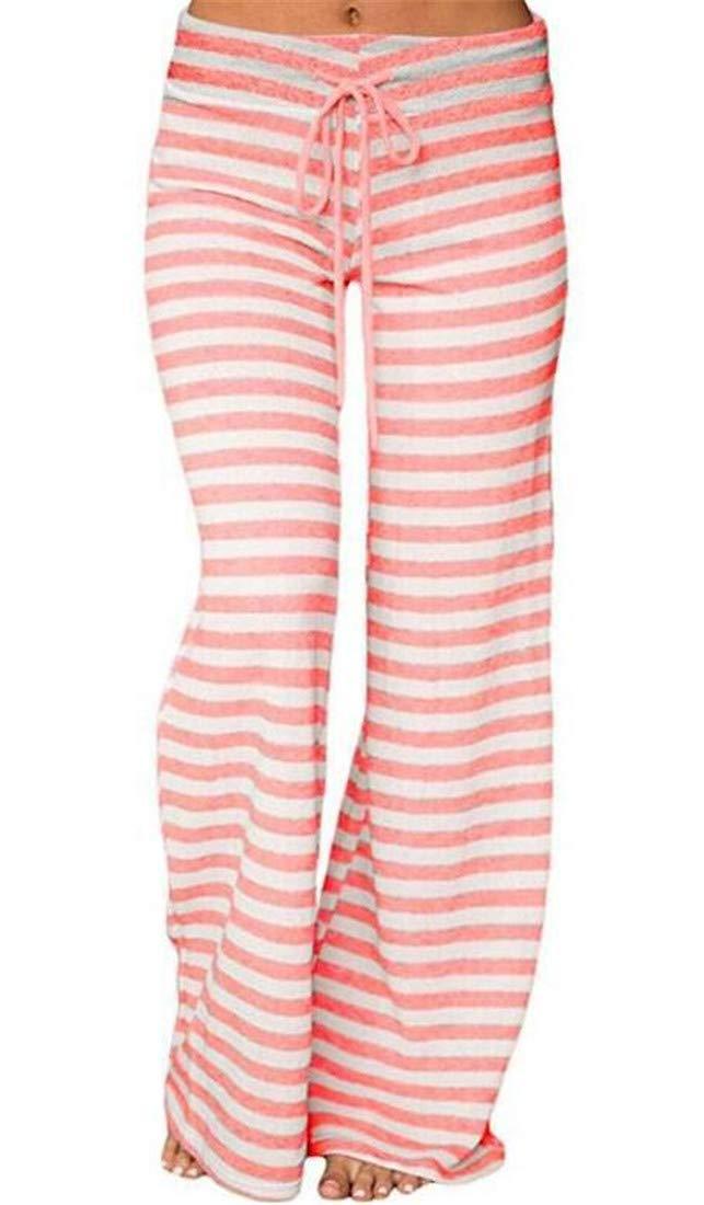 MU2M Women Stripe Yoga Trousers Loungewear High Waist Louge Pajama Pants Sleepwear