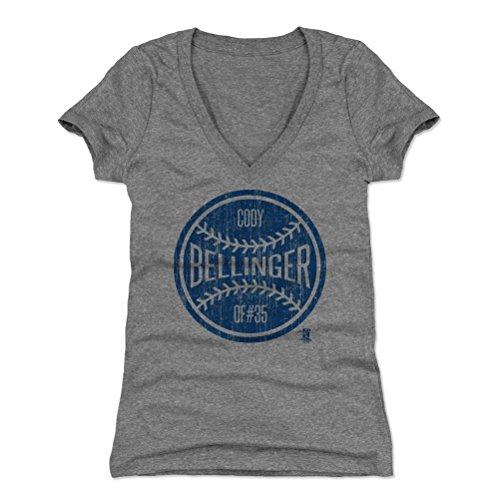 500 LEVEL Cody Bellinger Women's V-Neck Shirt X-Large Tri Gray - Los Angeles Baseball Women's Apparel - Cody Bellinger Ball B (07 Womens T-shirt)