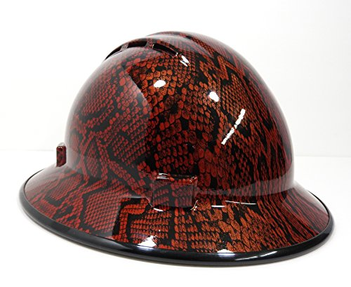HardHatGear Custom Hydro Dipped VENTED Full Brim Hard Hat in Red Python - Made in USA by Hardhatgear