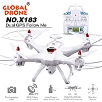 Owill Global Drone 6-Axis 4 CH X183 With 2MP WiFi FPV HD Camera GPS Brushless Quadcopter (White)