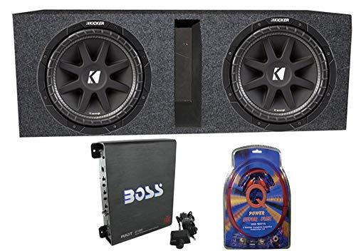 2) Kicker 43C104 10″ 600 Watt Car Subwoofers + Box + 1100W Amplifier + Wire Kit