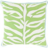 22'' Lime Green and Lace White with Blue Trim Decorative Throw Pillow