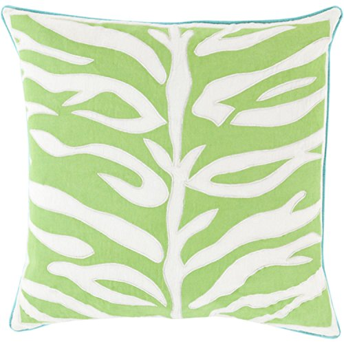 22'' Lime Green and Lace White with Blue Trim Decorative Throw Pillow by Diva At Home