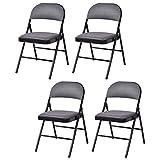 Set of 4 Fabric Upholstered Padded Seat Folding Chairs Folding Chair Seat Padded Vinyl Wood CHOOSEandBUY
