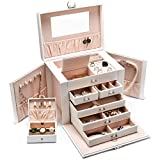 SWEETV Synthetic Jewelry Box Organizer with Mirror - Leather Necklace Ring Earrings Storage Cabinet for Women's Accessories, White
