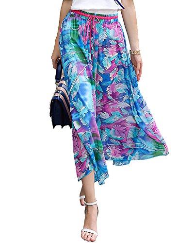 Mujeres Bohemio Playa Fiesta Maxi Largo Falda Plisada Flor Faldas Azul