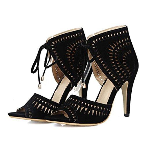 GAOLIXIA Femmes Peep Toe Suede Sandales Été Roman Creux Stiletto Talons Hauts Courroie De Cheville Dames Chaussures Glamorous Pompes Grande Taille 40-43 Black qod6i06
