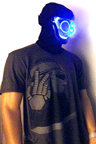 Original Huboptic BASS FX - BOB Black Mask - DJ Mask - Light Up Mask LED Neon mask Smiley Smile Bot Rave Mask Robot Mask Costume]()