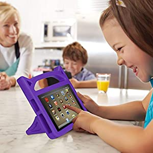 All-New F i r e 7 2017 Case - Dinines Kids Light Weight Shock Proof Handle Friendly Stand Kid-Proof Case for Amazon F i r e 7 Tablet (Compatible with 5th Generation 2015 / 7th Generation 2017)(Purple)